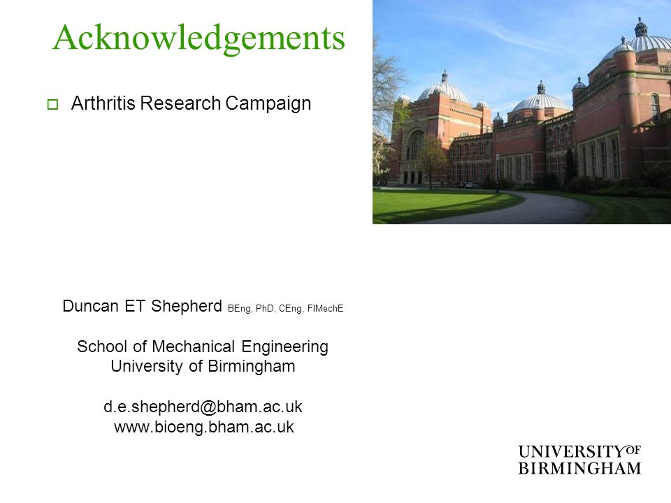 Acknowledgements Arthritis Research Campaign