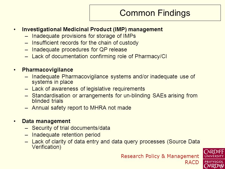 Common Findings Investigational Medicinal Product (IMP) management
