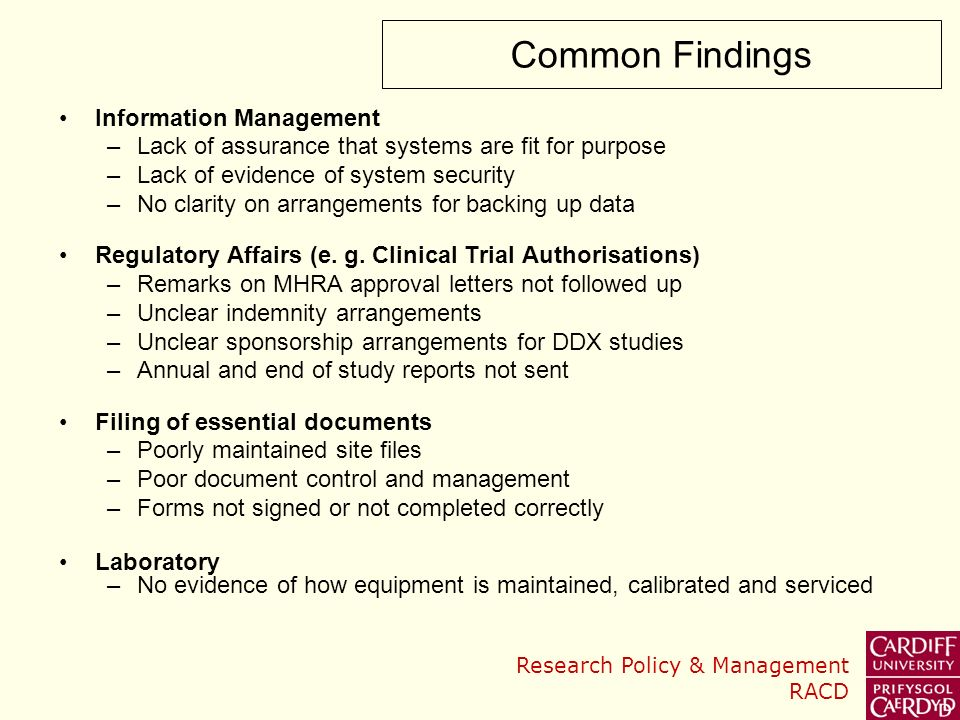 Common Findings Information Management