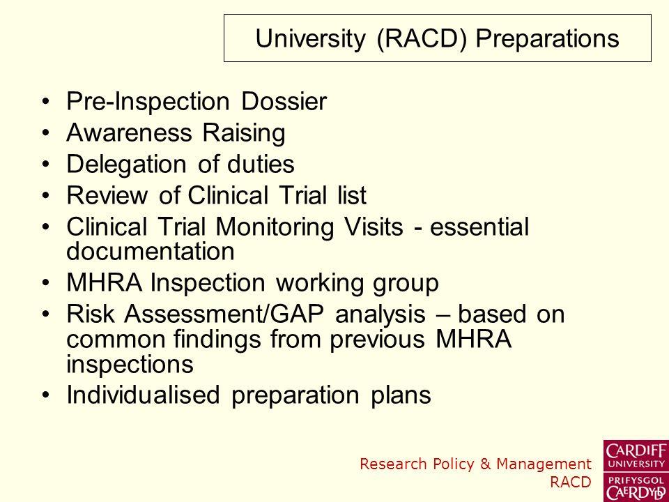 University (RACD) Preparations