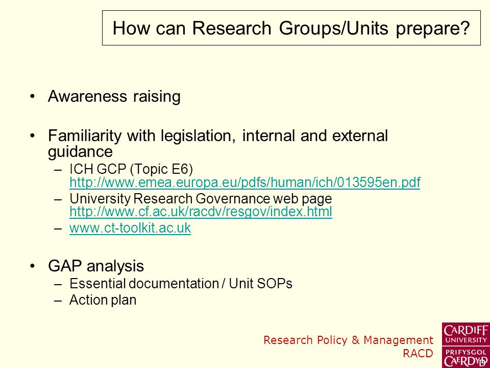 How can Research Groups/Units prepare