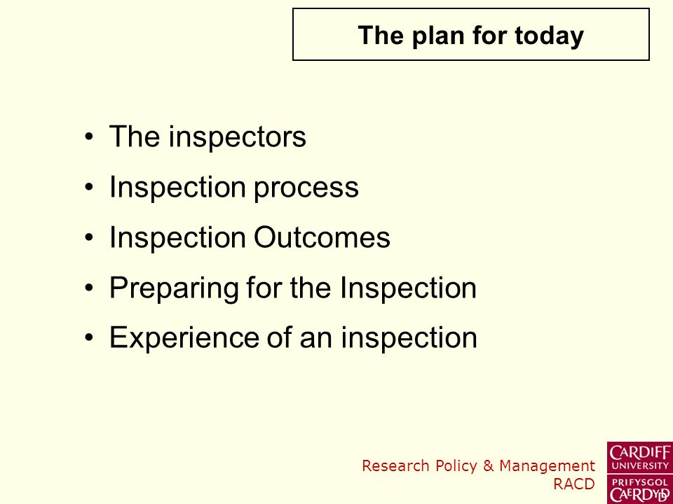 Preparing for the Inspection Experience of an inspection