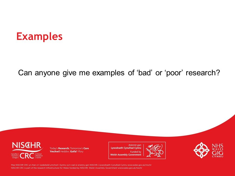 Can anyone give me examples of 'bad' or 'poor' research