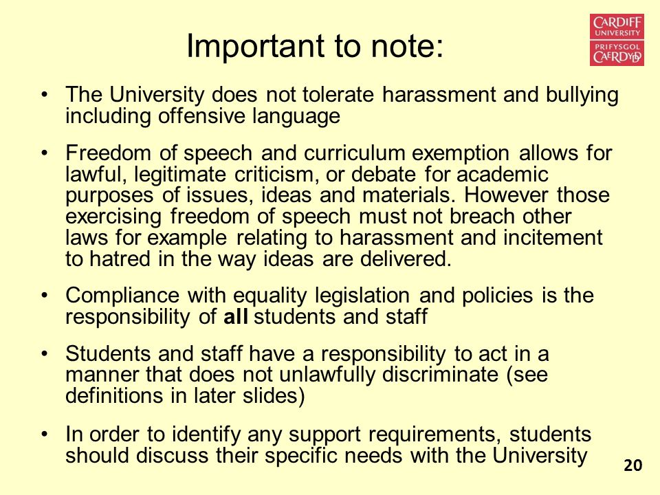 Important to note: The University does not tolerate harassment and bullying including offensive language.
