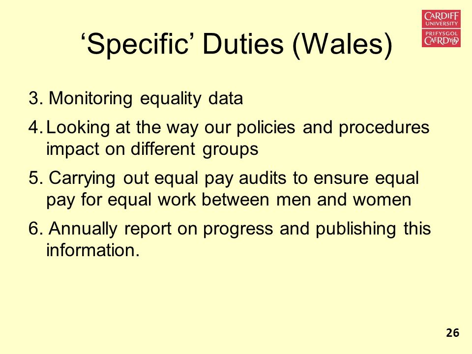 'Specific' Duties (Wales)