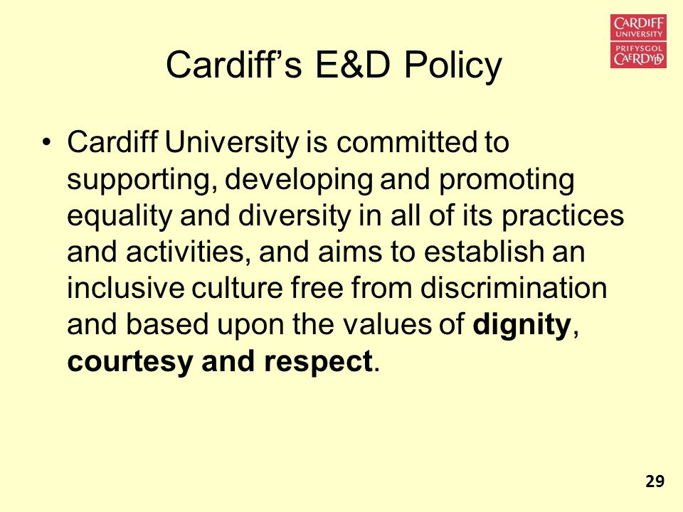 Cardiff's E&D Policy