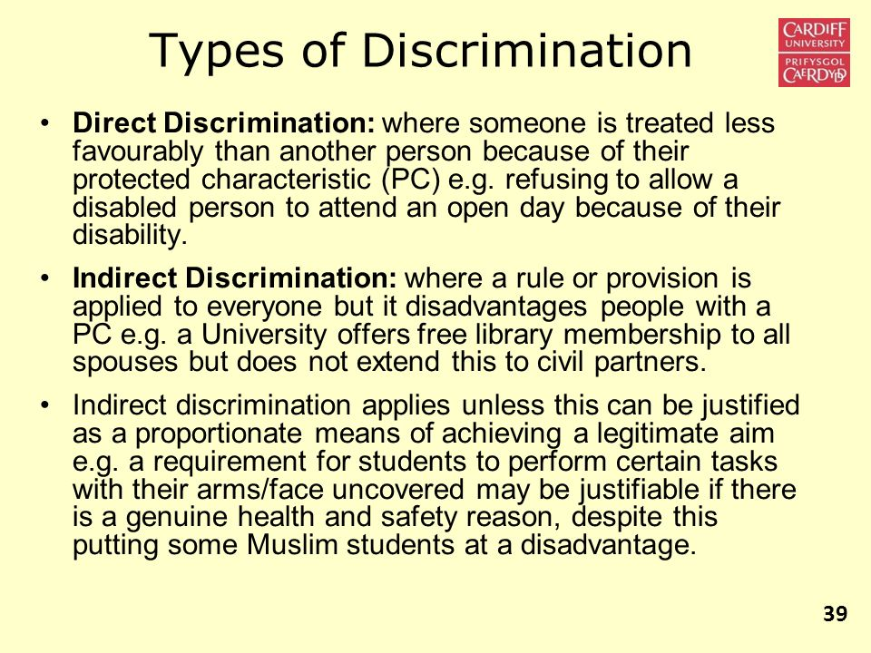 various forms of discrimination Read chapter 4 theories of discrimination: we begin by discussing four types of discrimination and the various mechanisms that may lead to such discrimination.