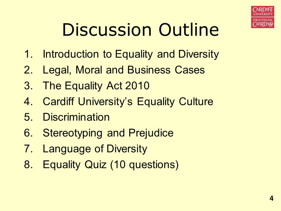 Discussion Outline Introduction to Equality and Diversity