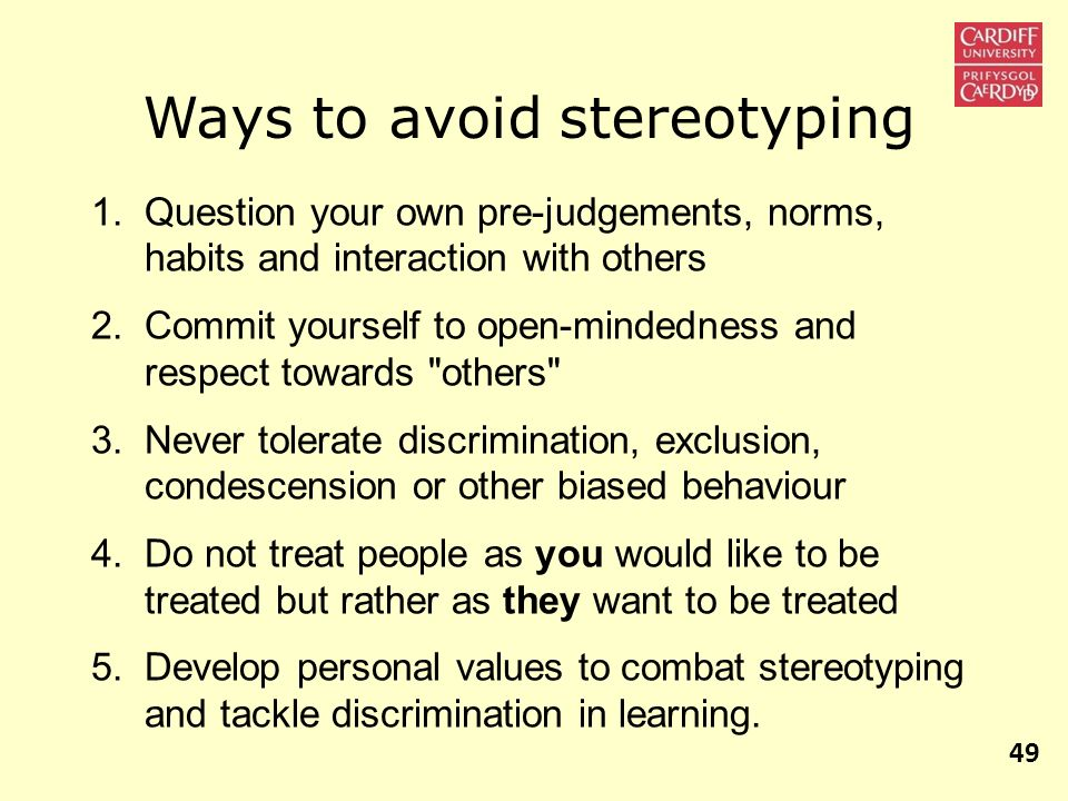 Ways to avoid stereotyping