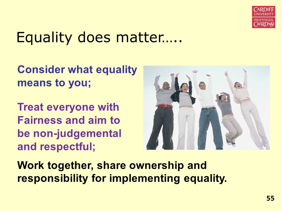 Equality does matter….. Consider what equality means to you;