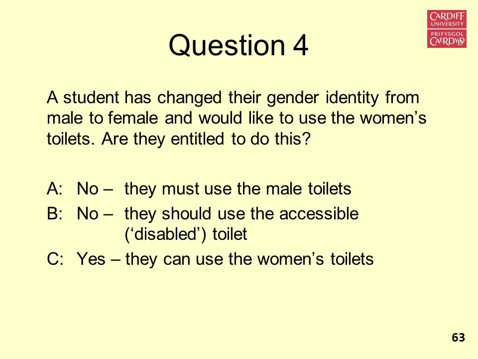 Question 4 A student has changed their gender identity from male to female and would like to use the women's toilets. Are they entitled to do this