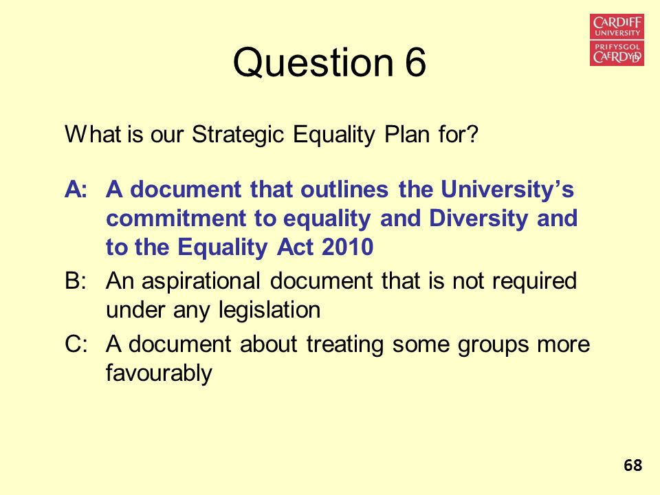 Question 6 What is our Strategic Equality Plan for