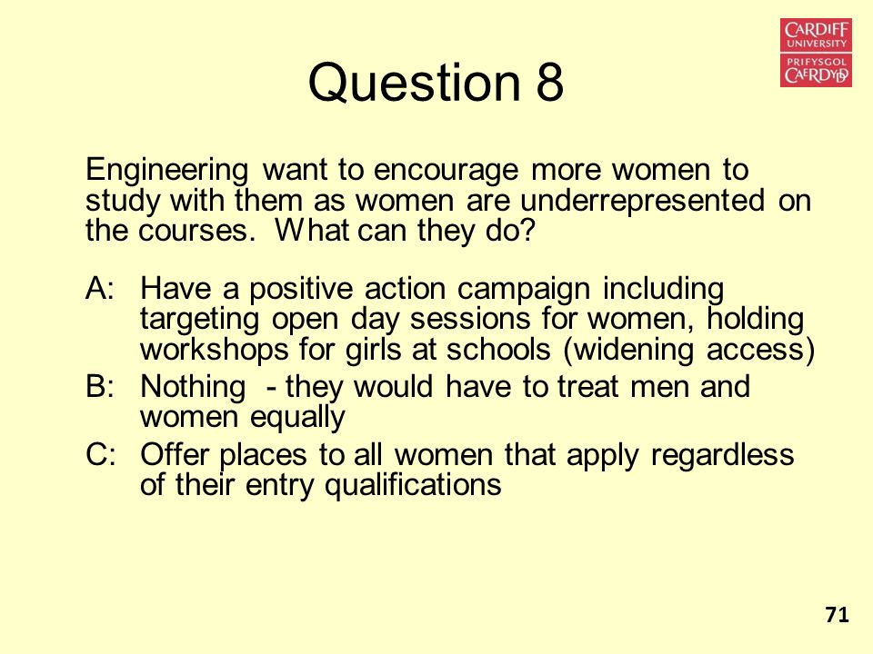 Question 8 Engineering want to encourage more women to study with them as women are underrepresented on the courses. What can they do