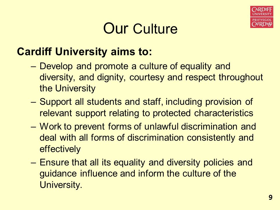 Our Culture Cardiff University aims to: