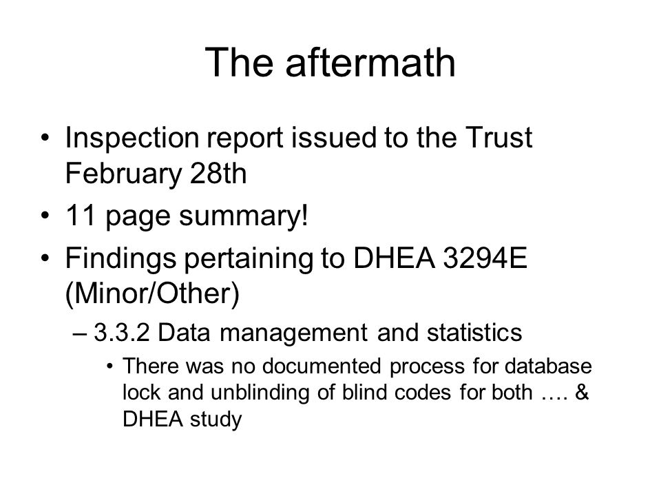 The aftermath Inspection report issued to the Trust February 28th