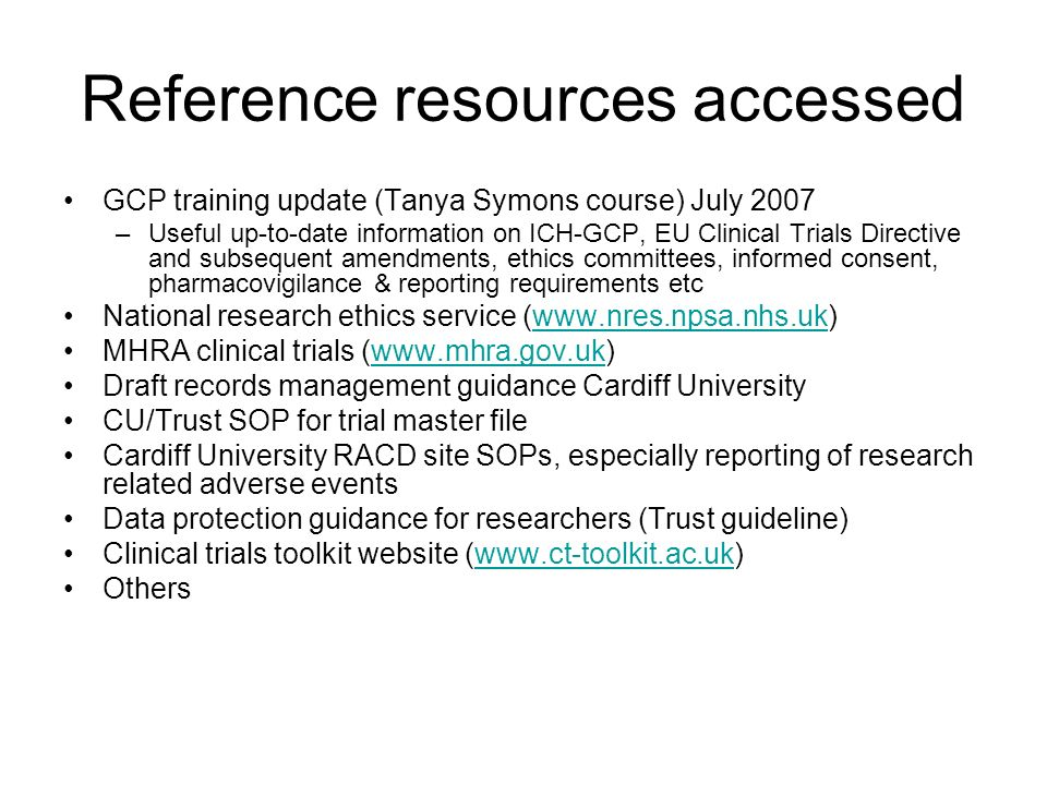 Reference resources accessed