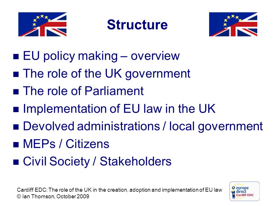 Structure EU policy making – overview The role of the UK government