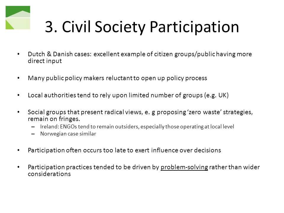 3. Civil Society Participation
