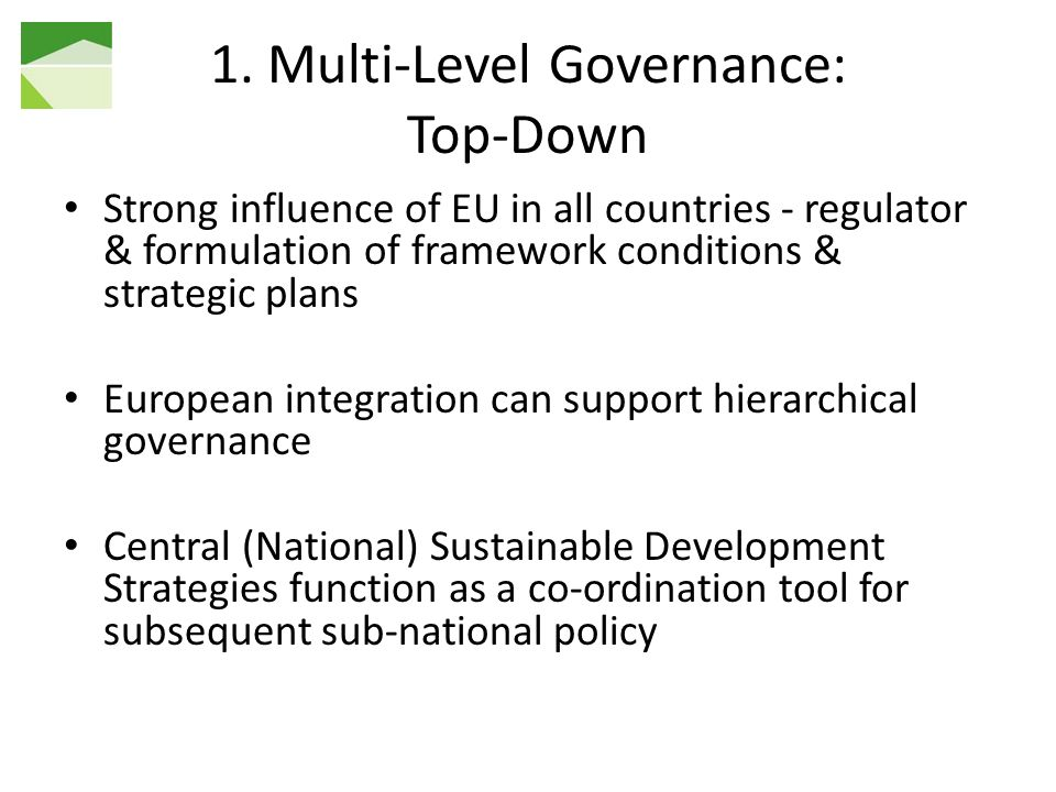 1. Multi-Level Governance: Top-Down