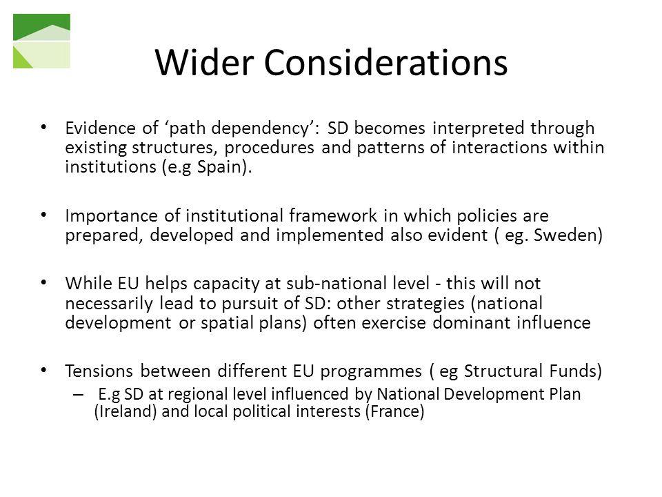 Wider Considerations