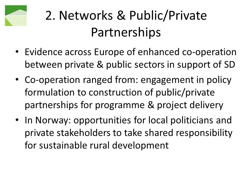 2. Networks & Public/Private Partnerships