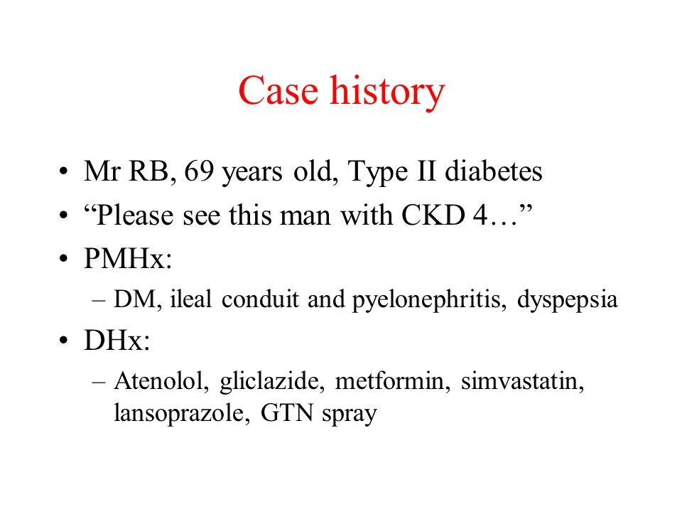 Case history Mr RB, 69 years old, Type II diabetes