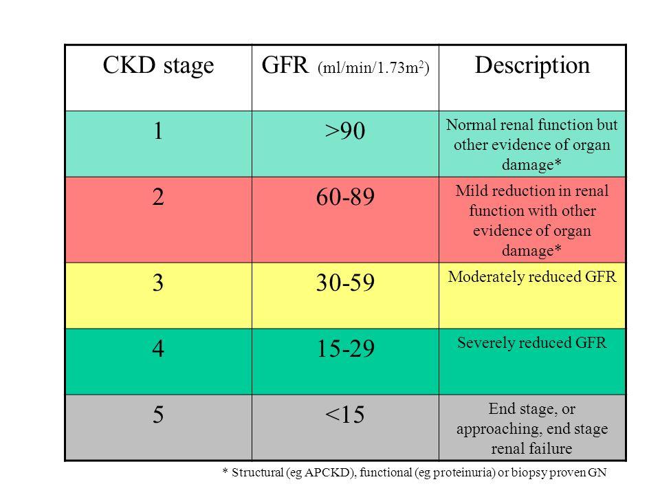CKD stage GFR (ml/min/1.73m2) Description 1 >90 2 60-89 3 30-59 4