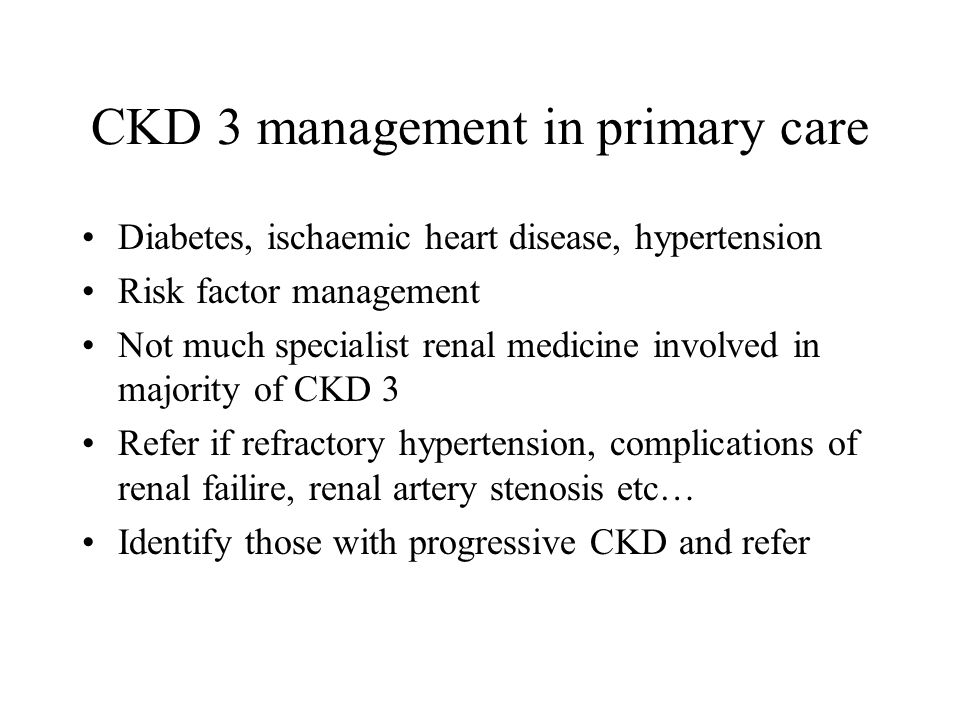 CKD 3 management in primary care