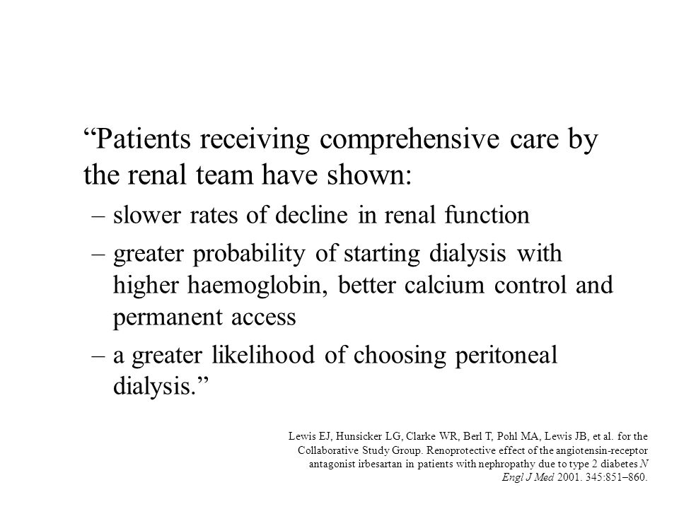 Patients receiving comprehensive care by the renal team have shown: