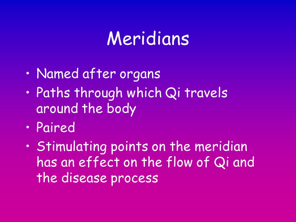 Meridians Named after organs