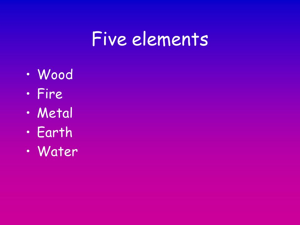Five elements Wood Fire Metal Earth Water