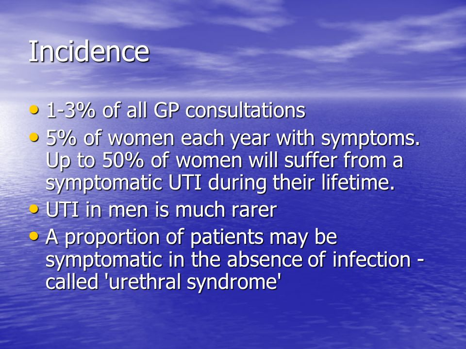 Incidence 1-3% of all GP consultations