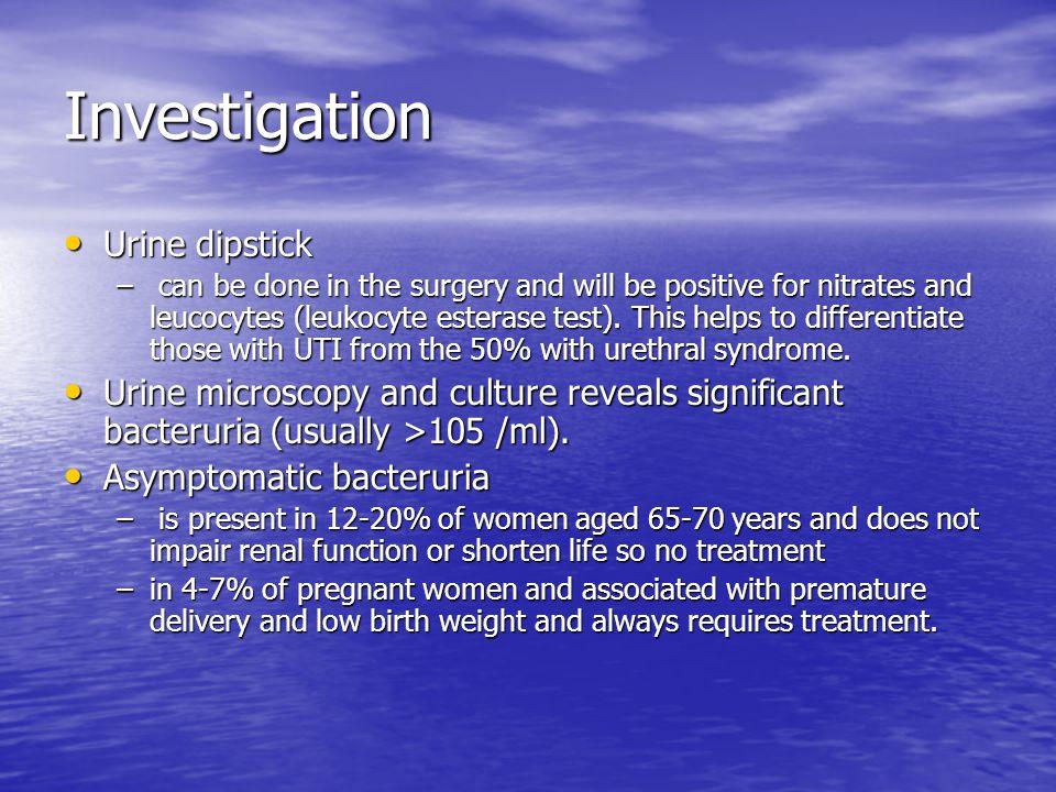 Investigation Urine dipstick