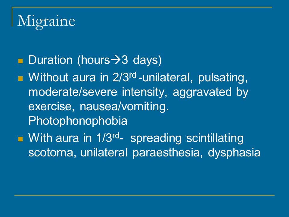 Migraine Duration (hours3 days)