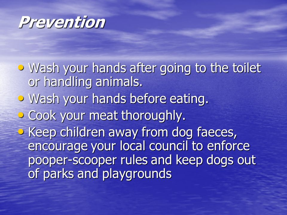 Prevention Wash your hands after going to the toilet or handling animals. Wash your hands before eating.