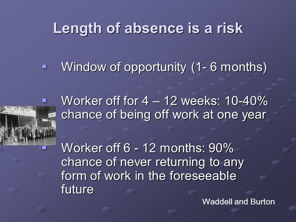 Length of absence is a risk