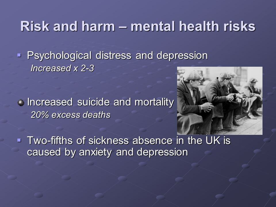 Risk and harm – mental health risks