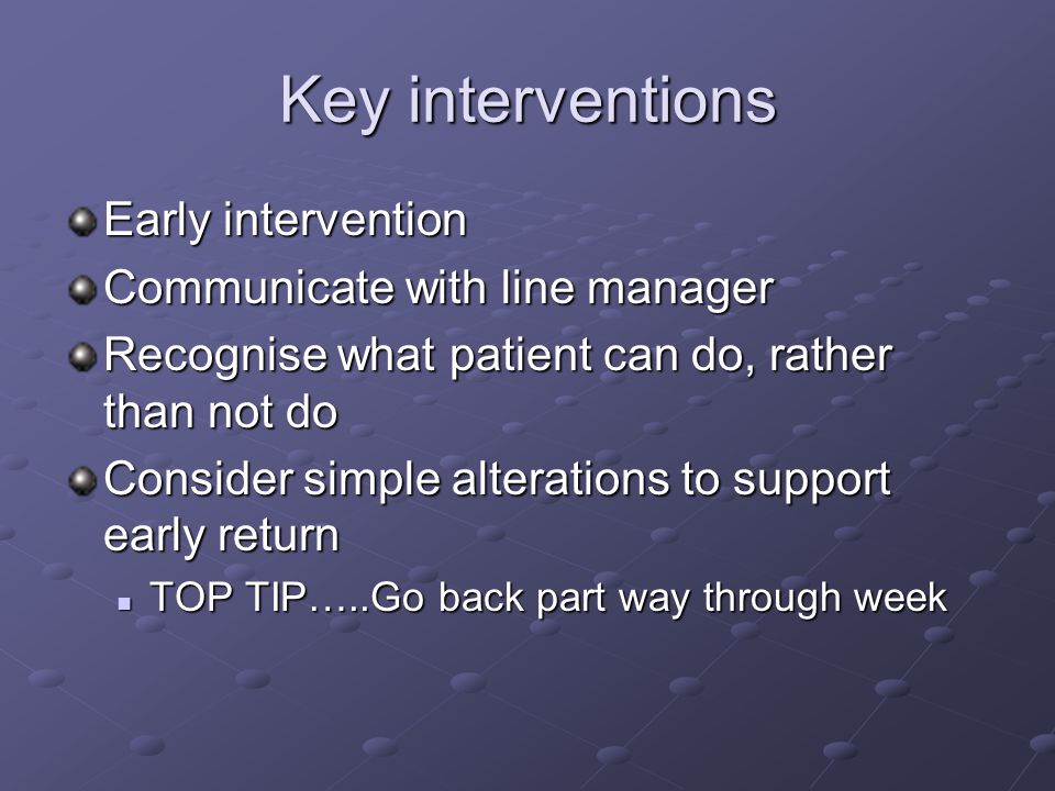 Key interventions Early intervention Communicate with line manager