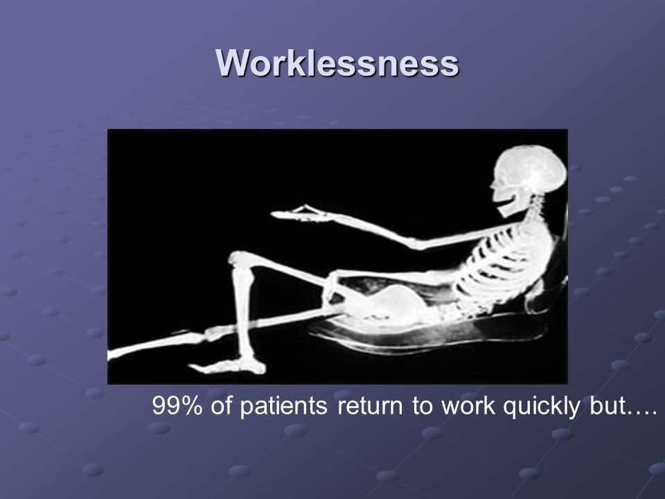 Worklessness 99% of patients return to work quickly but….