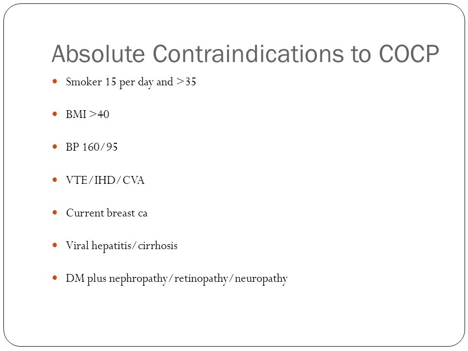 Absolute Contraindications to COCP