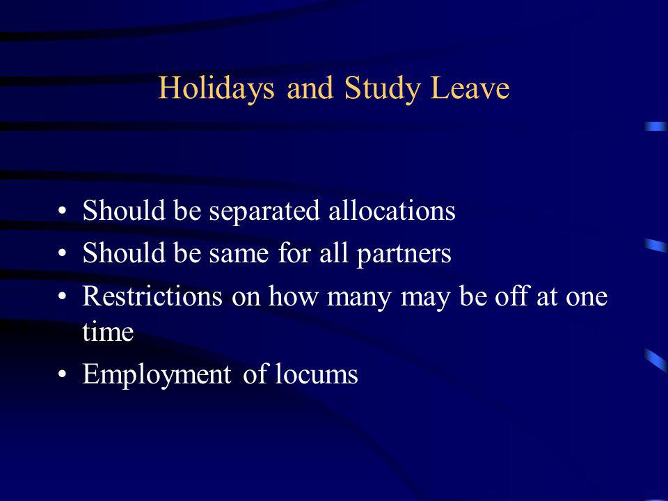 Holidays and Study Leave