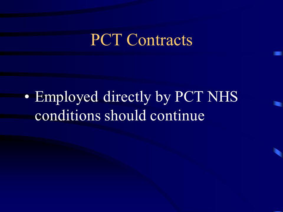 PCT Contracts Employed directly by PCT NHS conditions should continue