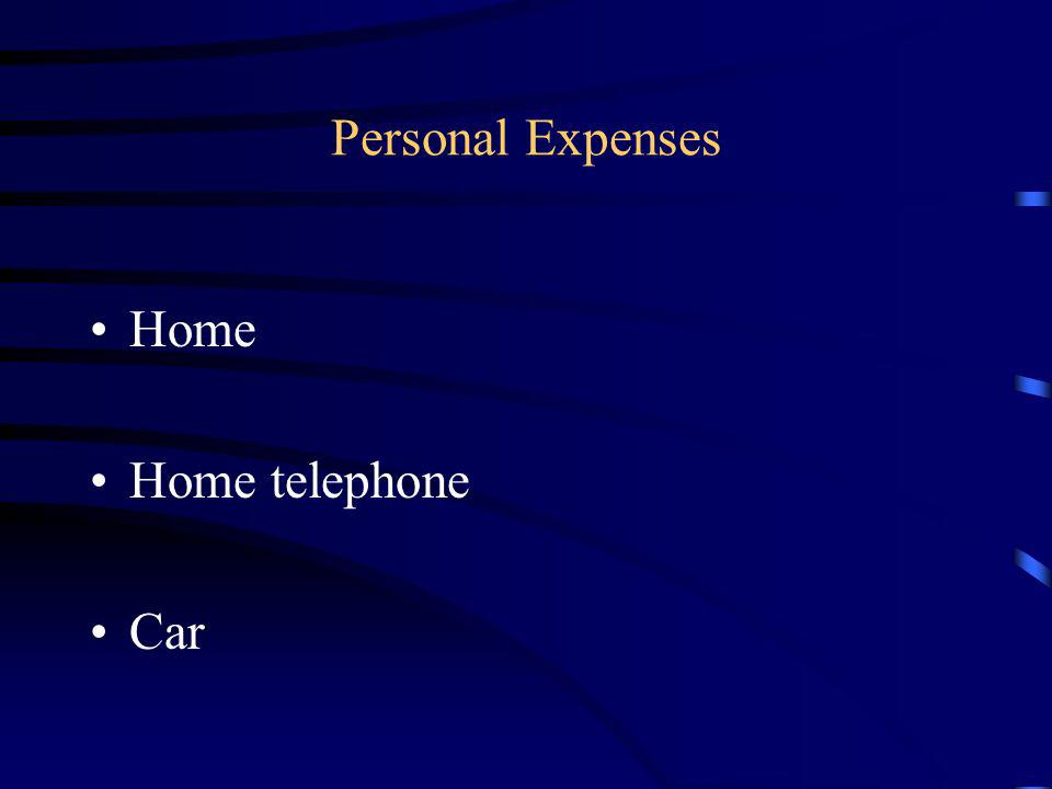 Personal Expenses Home Home telephone Car