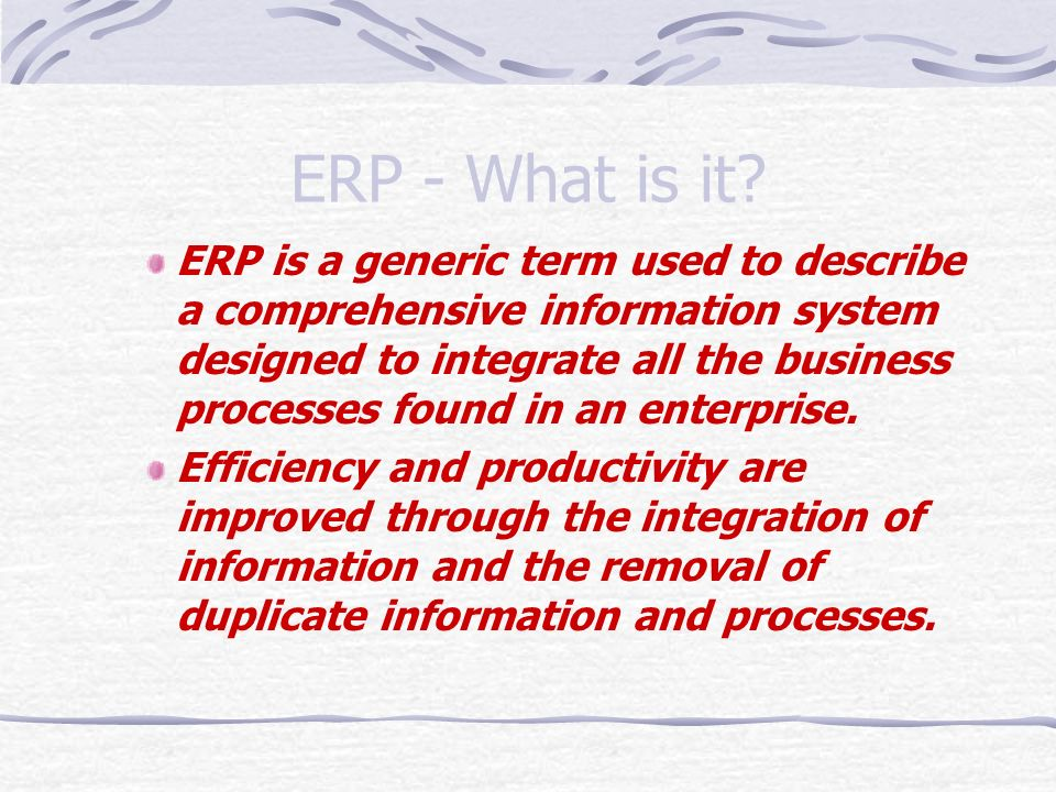ERP - What is it