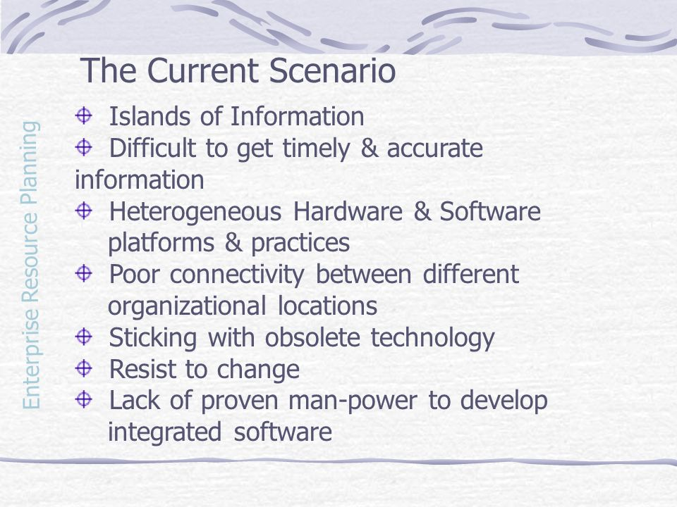 The Current Scenario Islands of Information
