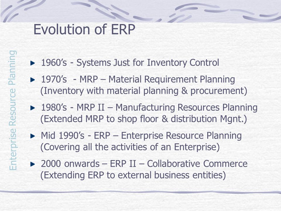 Evolution of ERP 1960's - Systems Just for Inventory Control