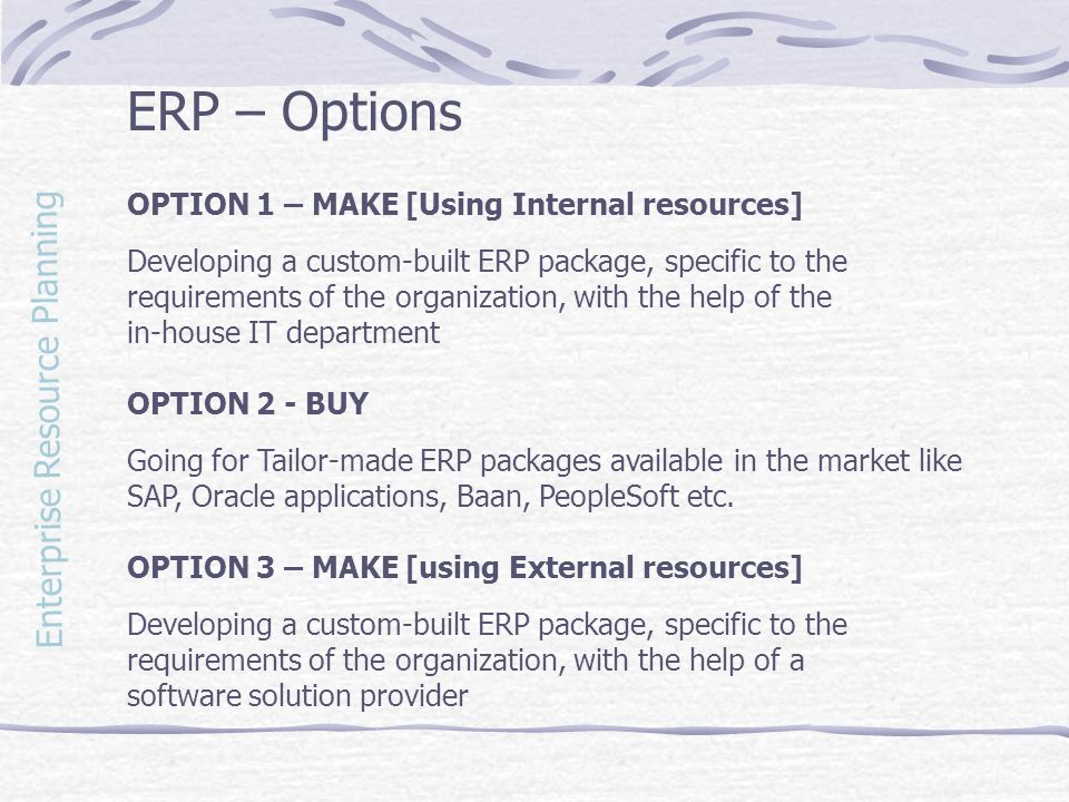 ERP – Options Enterprise Resource Planning