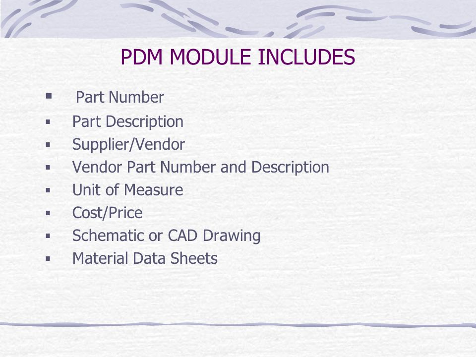 PDM MODULE INCLUDES Part Number Part Description Supplier/Vendor