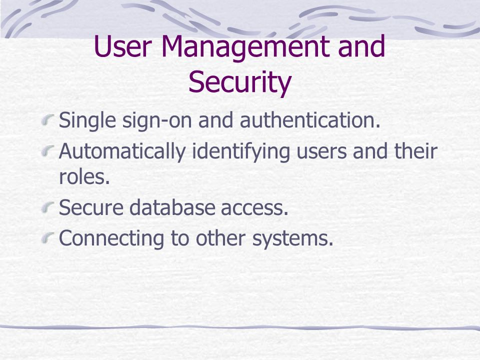 User Management and Security