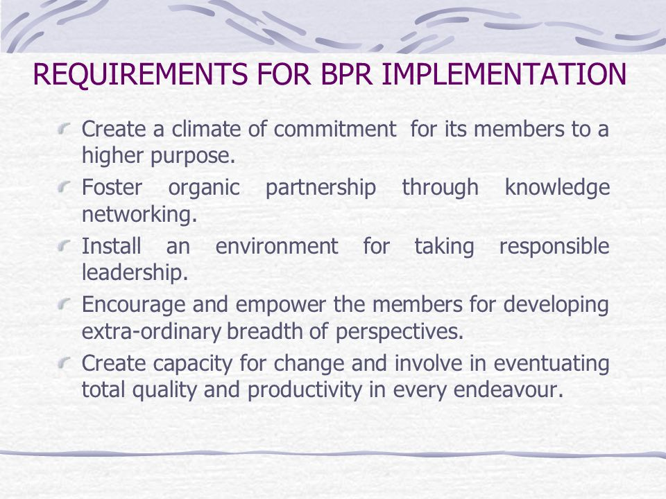 REQUIREMENTS FOR BPR IMPLEMENTATION